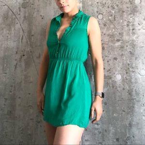 Emerald green mini summer dress